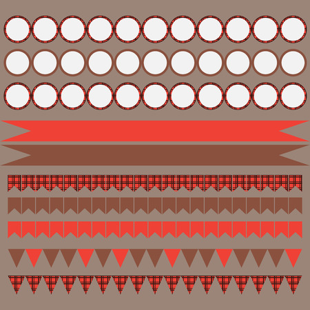 gingham: Printable set of vintage Lumberjack party elements. Templates, labels, icons and wraps. Trendy Hipster Buffalo Check ,Tartan and Gingham Patterns. Illustration