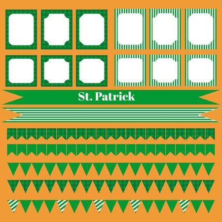 printable: Printable set of saint patrick party elements. Templates, labels, icons and wraps