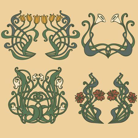 stile liberty: stile vintage etichette su diversi argomenti per decorazione e design  Vettoriali