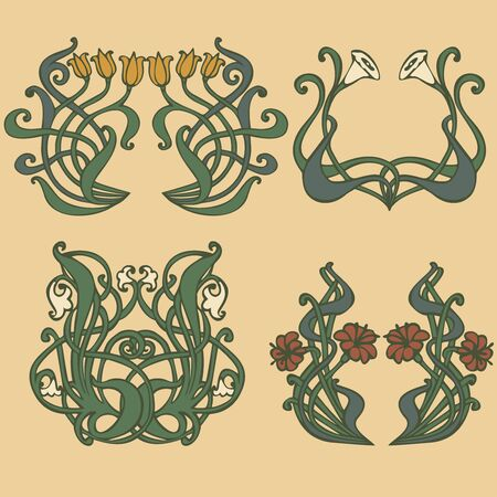 art nouveau border: vintage style labels on different topics for decoration and design