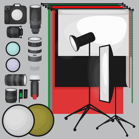 room accent: Set of photo studio equipment, paper photo background, light soft flat icons,  flash, reflector, softbox, professional photographic technology