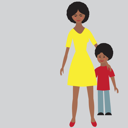 Flat portrait of happy family with mother and child. Young afro american mom with little kid together. Woman and son. Illustartion of single unmarried mother