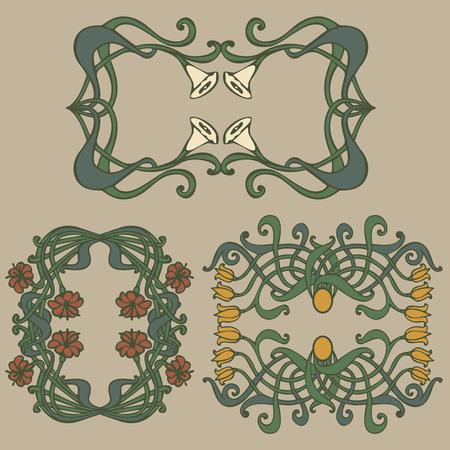 Art nouveau and art deco floral ornaments, modern and jugendstil vintage elements