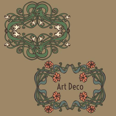 jugendstil: Art nouveau and art deco floral ornaments, modern and jugendstil vintage elements
