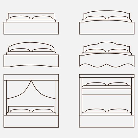 twin bed: Outline illustration of bed, icon set, furniture pictogram