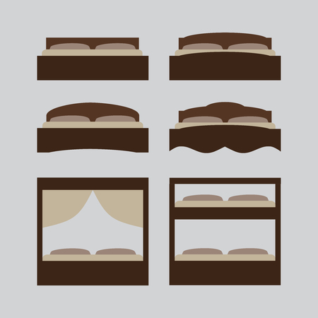 twin bed: Outline illustration of bed, icon set, furniture pictogram