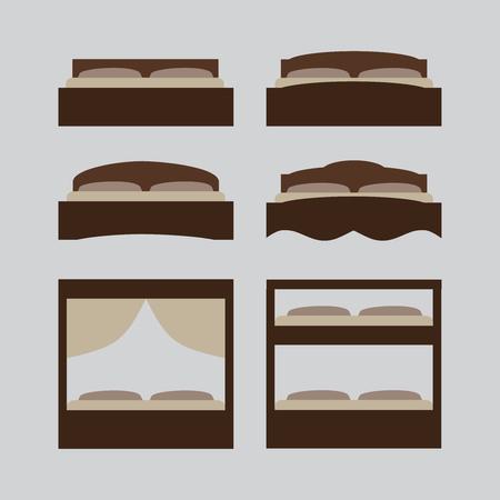 cartoon medical: Outline illustration of bed, icon set, furniture pictogram