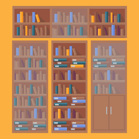 library book: library book shelf background, row of books in bookstore Illustration