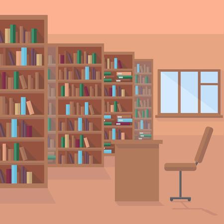 図書室、本棚背景、書店で書籍の行  イラスト・ベクター素材