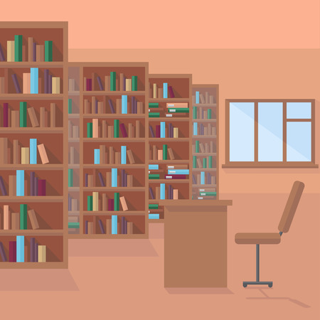 literature: library room,  book shelf background, row of books in bookstore Illustration