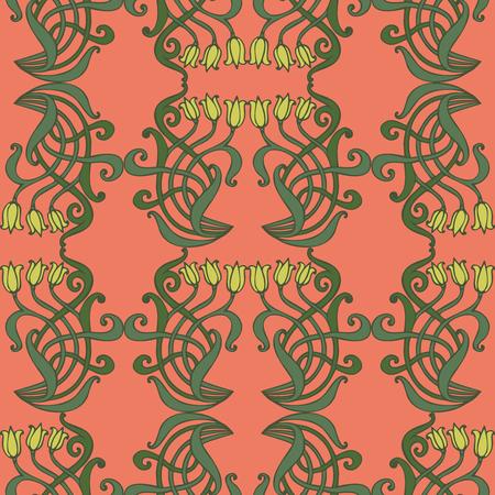 jugendstil: Art nouveau and art deco floral ornaments, modern seamless pattern, jugendstil vintage elements