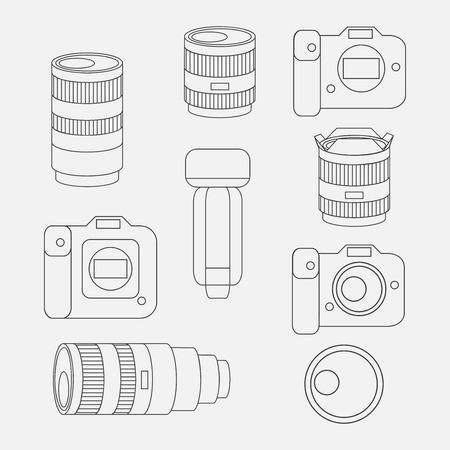 Set of photo studio equipment, camera and optic lenses flat icons, professional photographic technology Vektorové ilustrace