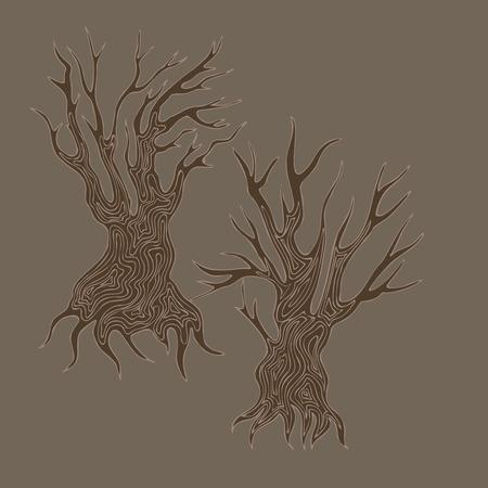arboles secos: Ilustraci�n de dibujado a mano del doodle estilizado �rboles muertos