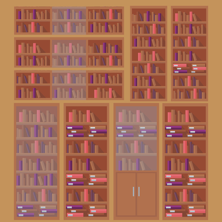 bookstore: library book shelf background, row of books in bookstore Illustration