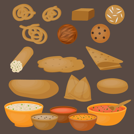 Vedic Indian cuisine, set of vegetarian healthy food, traditional meal of India Stock Vector - 51754827