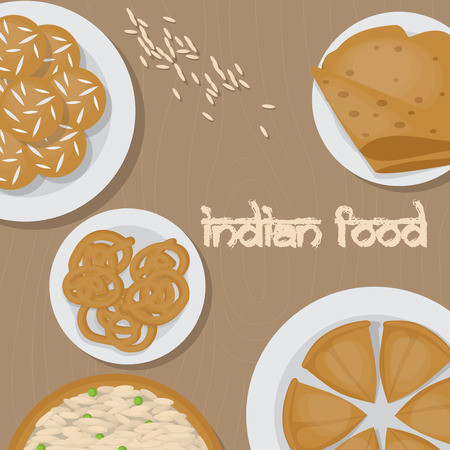 vedic: Vedic Indian cuisine, set of vegetarian healthy food, traditional meal of India top view