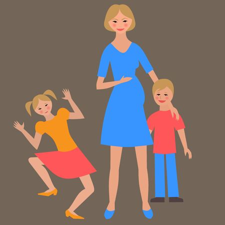 pregnant mom: Flat portrait of happy family with mother and children.  Pregnant mom with little kids together. Woman, son and daughter. Illustrtion of single mother