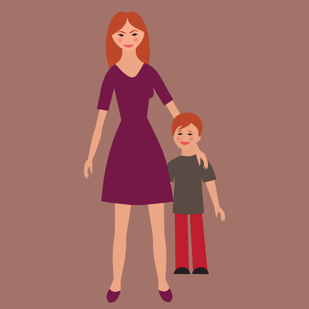 Flat portrait of happy family with mother and child. Young mom with little kid together. Woman and son. Illustration of single unmarried mother