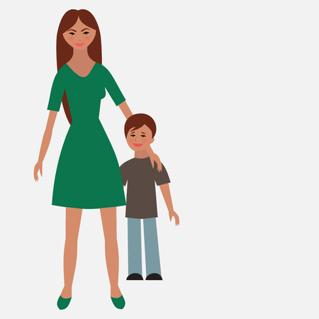 single mother: Flat portrait of happy family with mother and child.   Young mom with little kid together. Woman and son. Illustration of single unmarried mother