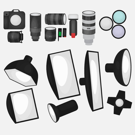 room accent: Set of photo studio equipment, light soft, camera and optic lenses flat icons, professional photographic technology Illustration