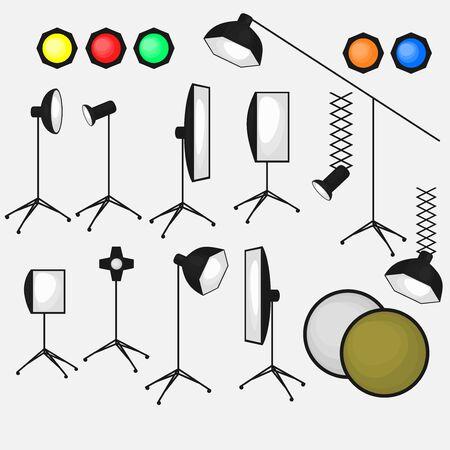 videographer: Set of photo studio equipment, light soft, camera and optic lenses flat icons, professional photographic technology Illustration