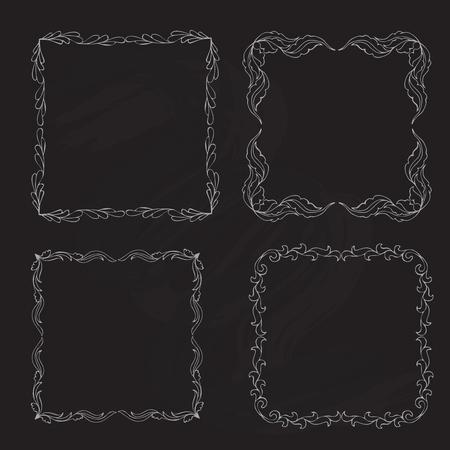 leaf line: Hand Drawn Doodle Floral Laurel Frames and Corners