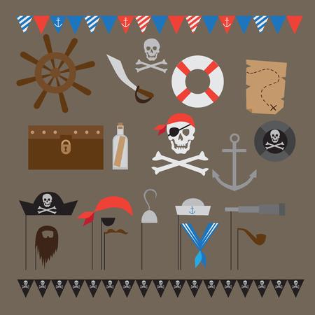 ahoy: Pirate party ideas, nautical design elements for celebration Illustration