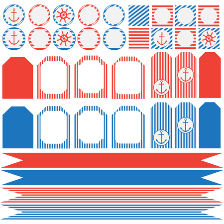 printable: Printable set of vintage nautical party elements. Templates, labels, icons and wraps