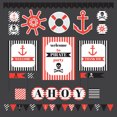 ahoy: Printable set of vintage pirate party elements. Templates, labels, icons and wraps