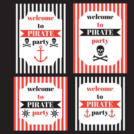 ahoy: vintage nautical pirate party invitation, nautical marine sailor elements