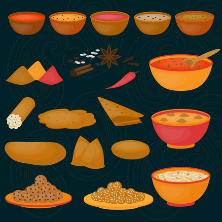 Vedic Indian cuisine, set of vegetarian healthy food, traditional meal of India Stock Vector - 51986166