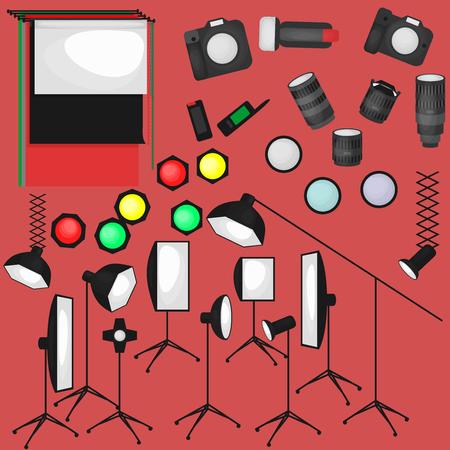 reflector: Set of photo studio equipment, paper photo background, light soft flat icons,  flash, reflector, softbox, professional photographic technology