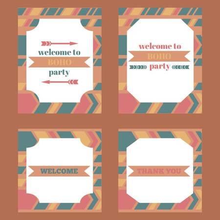printable: Printable tribal set of vintage boho party elements. Templates, labels, icons and wraps Illustration