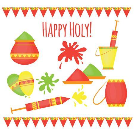 hinduism: Indian Holi tradicional festival de colores, elementos de dise�o en estilo hind�, Hinduismo celebraci�n de colores vivos con el polvo multicolor