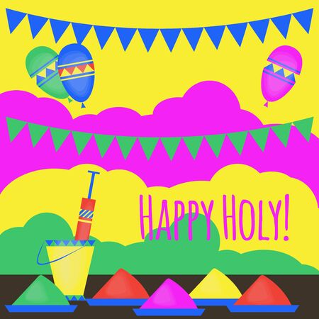pichkari: Indian Holi traditional festival of colours, design elements in indian style, hinduism colorful celebration with vivid multicolored powder Illustration