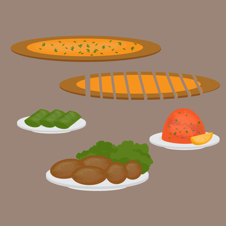 main dishes: Middle East Food. Common main and side dishes, pide, dolma, kisir and kofte. Turkish pizza, lentil salad, cutlet and stuffed grape leaves. Traditional food of Turkish cuisine.