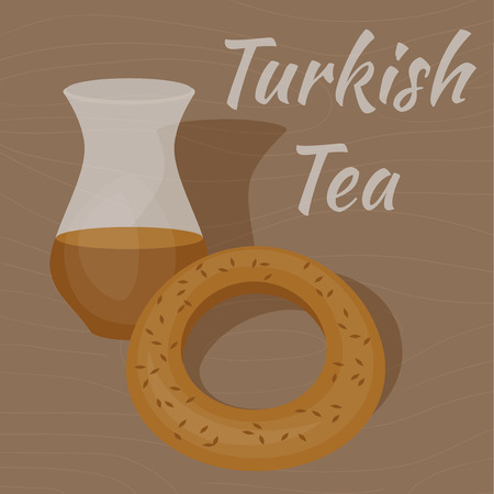 Turkish Tea Cup with traditional bagel, cay and simit Illustration
