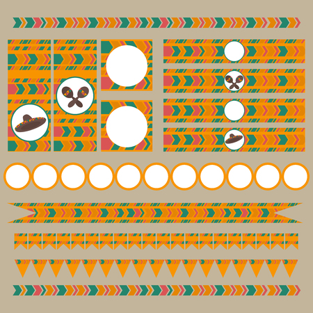 de: Printable tribal set of  mexican fiesta, cinco de mayo  party elements. Templates, labels, icons and wraps Illustration