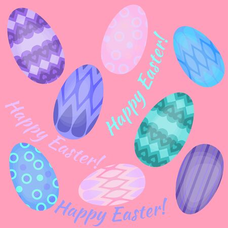 rite: Easter holiday art card with colorful eggs flat, Happy Easter design elements, decoration for celebration Illustration