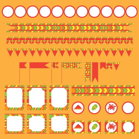 gulal: Printable set of indian Holi party, festival of colours elements. Templates, labels, icons and wraps