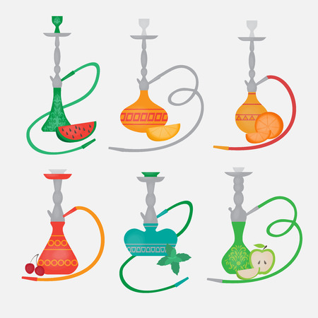 tabacco: Set of hookah icons. Labels for nargile shop or shishe lounge. Fruit flavor of tabacco citrus, mint and berry