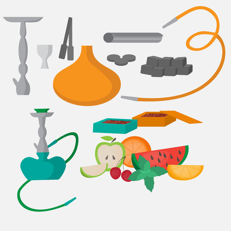 Set of hookah icons. Waterpipes, forceps, charcoal and accessories. Labels for shishe shop or nargile lounge, Fruit flavor of tabacco citrus, mint and berry