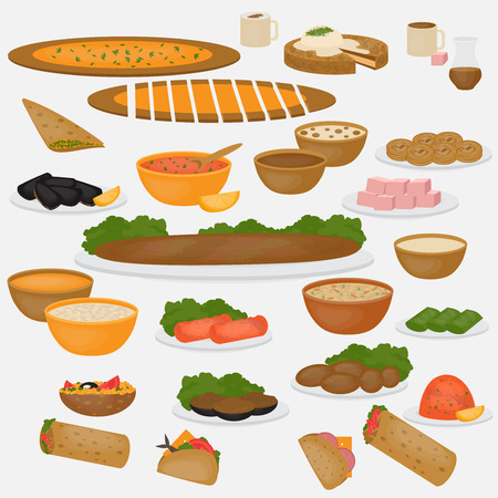 turkish dessert: Middle East Food. Common main and side dishes, desserts, bread and drinks.Traditional food and beverages of Turkish cuisine. Illustration