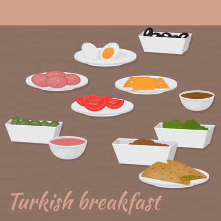 plato del buen comer: Buenos d�as con desayuno turco Oriente Medio de Alimentos. La comida tradicional de la cocina turca.