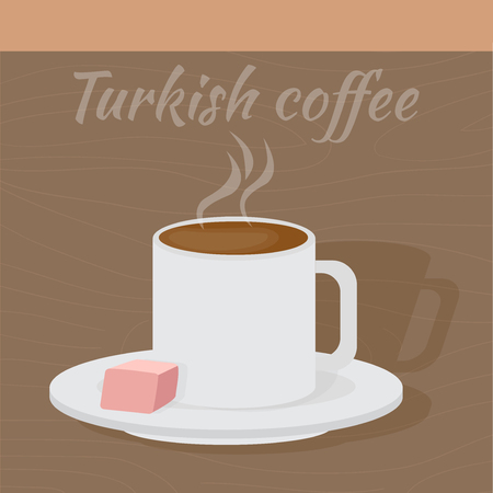 colombian food: Traditional Turkish coffee with turkish delight. Middle East Food. Illustration