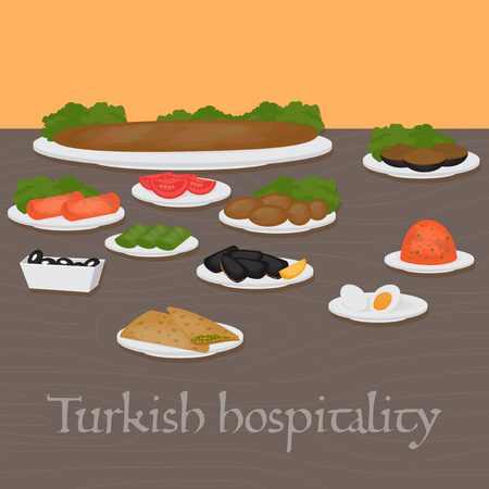 geniality: Turkish hospitality Middle East Food. Common main and side dishes, desserts.Traditional food  of Turkish cuisine.