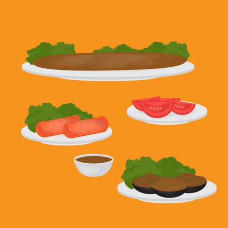 main dishes: Middle East Food. Common main and side dishes, Turkish lentil cutlet,  stuffed eggplant, tomato and kebab. Traditional food of Turkish cuisine. Illustration