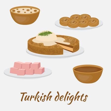 Middle East Food. Common desserts. Turkish delights.Traditional food of Turkish cuisine.