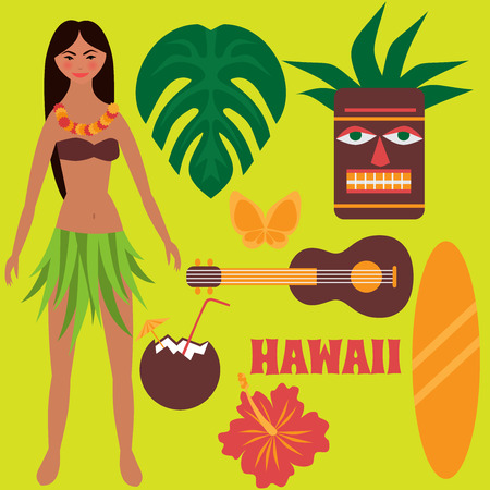 tiki party: Luau party design elements, tropical rest, time off on Hawaii islands, exotic vacation, summer weekend, Girl dancing hula, hawaiian flowers, tiki mask, ukulele guitar, surf board and coconut drink isolated