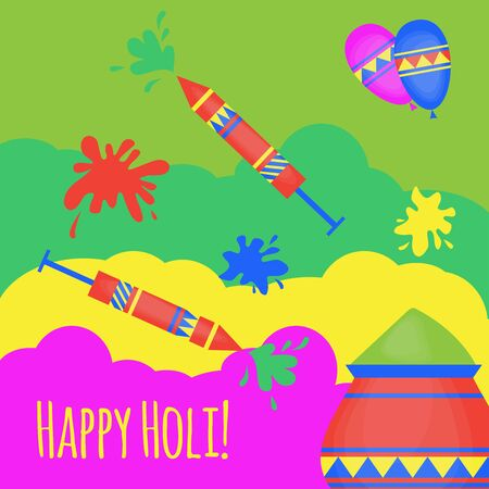 hinduism: Indian Holi traditional festival of colours, design elements in indian style, hinduism colorful celebration with vivid multicolored powder. Illustration